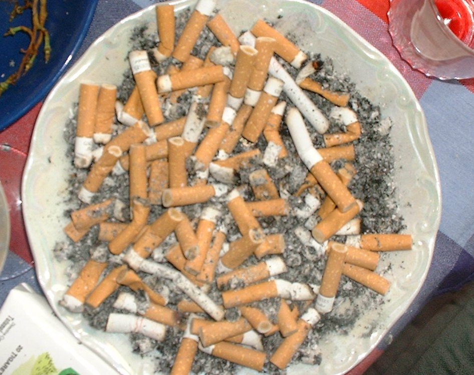 Das Foto zeigt einen Teller mit zahlreichen Zigarettenkippen.