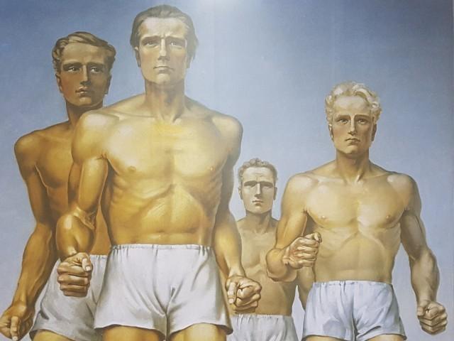 Das Foto zeigt den Ausschnitt eines gemalten Bildes, auf dem fontal mehrere Läufer zu erkennen sind.