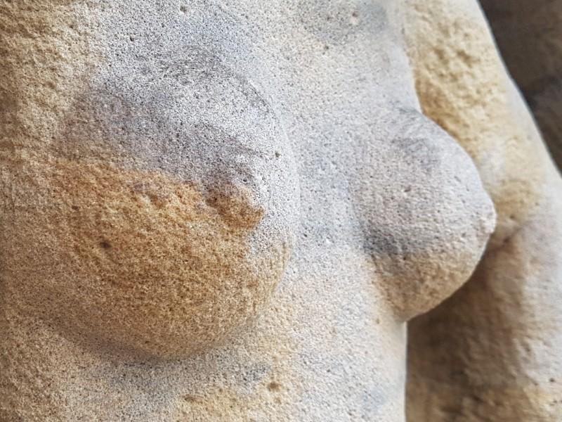 Das Foto zeigt die Brust einer Skulptur.