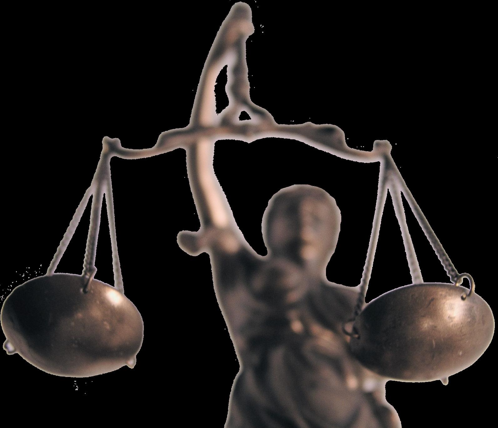 Das Foto zeigt das Sinnbild von Recht und Gerechtigkeit, die Justitia, die hier frontal von unten fotografiert wurde.