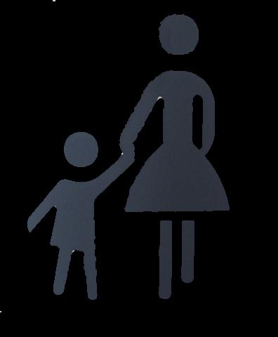 Abbildung beinhaltet in stilisierter vor eine Frau, welche ein Kind an der Hand hält. Die Darstellung ist in schwarz vor weißem Grund grafisch freigestellt.
