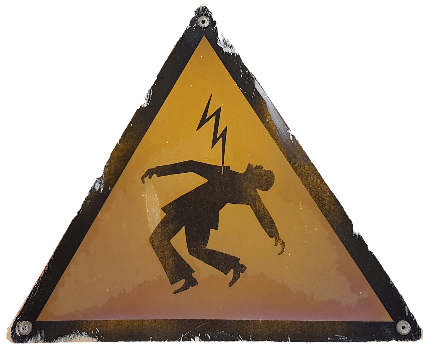Das Foto zeigt ein dreieckiges Warnschild, welches vor Gefahren durch Stromschläge warnt. Auf gelbem Hintergrund ist ein in schwarzer Farbe stilisierter man zu sehen, der sich theatralisch nach hinten beugt und von einem von oben kommenden Blitz an der Brust getroffen wird.