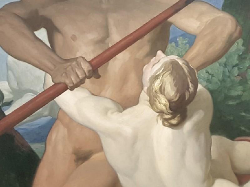 Das Foto zeigt den Teil eines Gemäldes, auf dem eine zu sehen ist, die sich an einem Mann klammert und zu diesem aufschaut.
