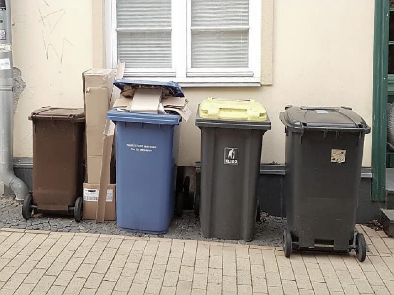 Das Foto zeigt Mülltonnen, welche vor einem Wohnhaus abgestellt sind. Die Mülltonnen sind teilweise gefüllt und es steht Müll daneben.