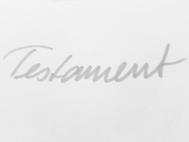 Das Foto zeigt das in grauer Schrift handschriftlich geschriebene Wort Testament.