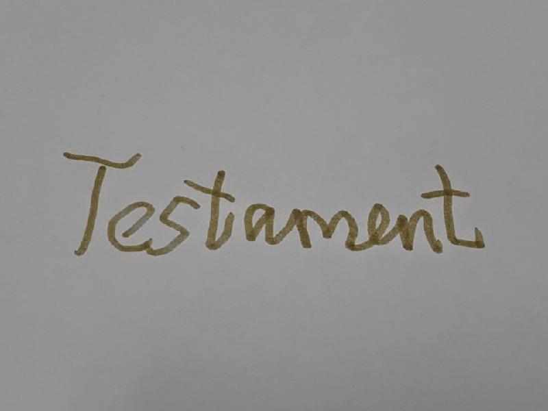 Das Foto zeigt den Schriftzug Testament, die Schrift ist etwas krakelig, als wäre sie von einem ungeübten Verfasser geschrieben worden.