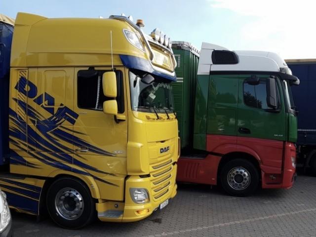 Das Foto zeigt die Fahr- und Maschinenhäuser von LKWs.