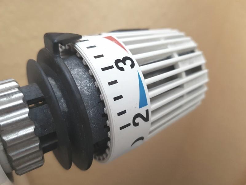 Das Foto zeigt ein Thermostat zum Einstellen der Wärme bei einem Heizkörper.