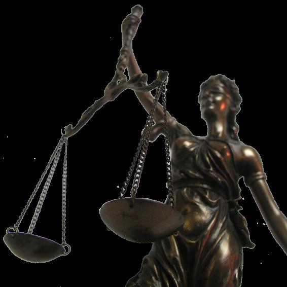 Das Foto zeigt Justitia, Sinnbild von Recht und Gerechtigkeit, die in der rechten Hand eine Waage und in der linken Hand ein Schwert hält. Das Schwert ist nicht zu erkennen.