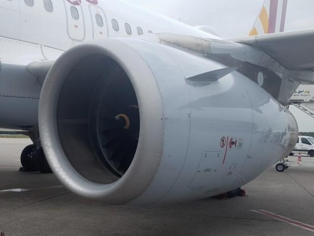 Das Foto zeigt das Triebwerk eines Flugzeugs.