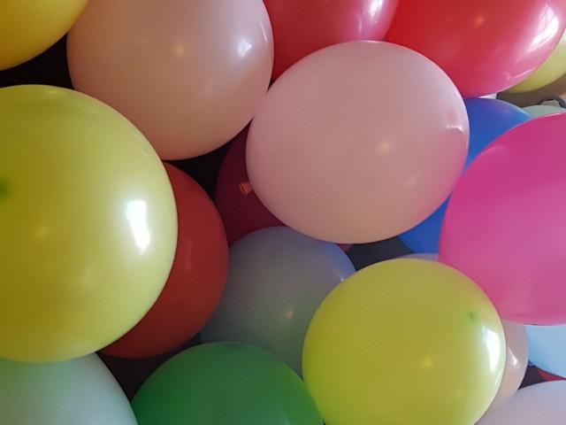 Das Foto zeigt zahlreiche bunte Luftballons Camaro unter anderem in pink, gelb, blau und rot.